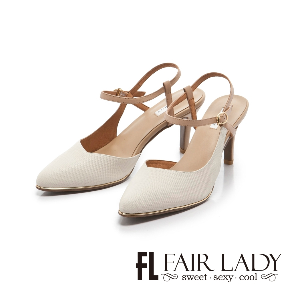 【FAIR LADY】優雅小姐Miss Elegant 皮革壓紋繞帶尖頭高跟鞋 白