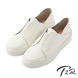 【T2R】真皮手工簡約時尚懶人鞋-白
