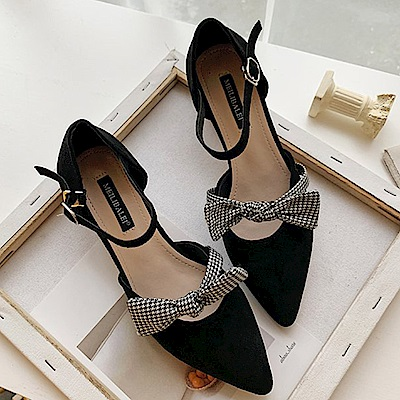 KEITH-WILL時尚鞋館 韓式名媛波西米亞蝴蝶結粗跟鞋-黑色