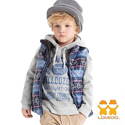 【LOVEDO-艾唯多童裝】美式足球 長袖內刷毛連帽T恤(灰)