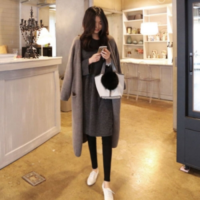La Belleza素面加厚超長版開衫過膝束袖包心紗針織毛衣外套