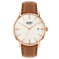 Henry London 英式簡約真皮手錶-米X玫瑰金框/40mm