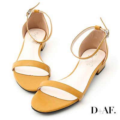 D+AF 簡約美學.一字繫踝低跟涼鞋*黃