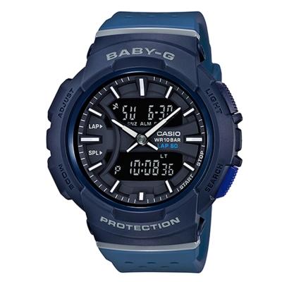 BABY-G慢跑元素運動風配色設計休閒錶(BGA-240-2A1)藍黑X靛藍42.6mm