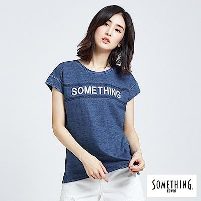SOMETHING INDIGO雪花刺繡T恤-女-拔洗藍