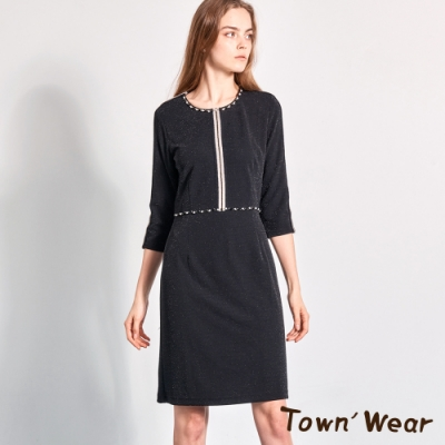 【TOWNWEAR棠葳】銀蔥鑽飾線條修身洋裝