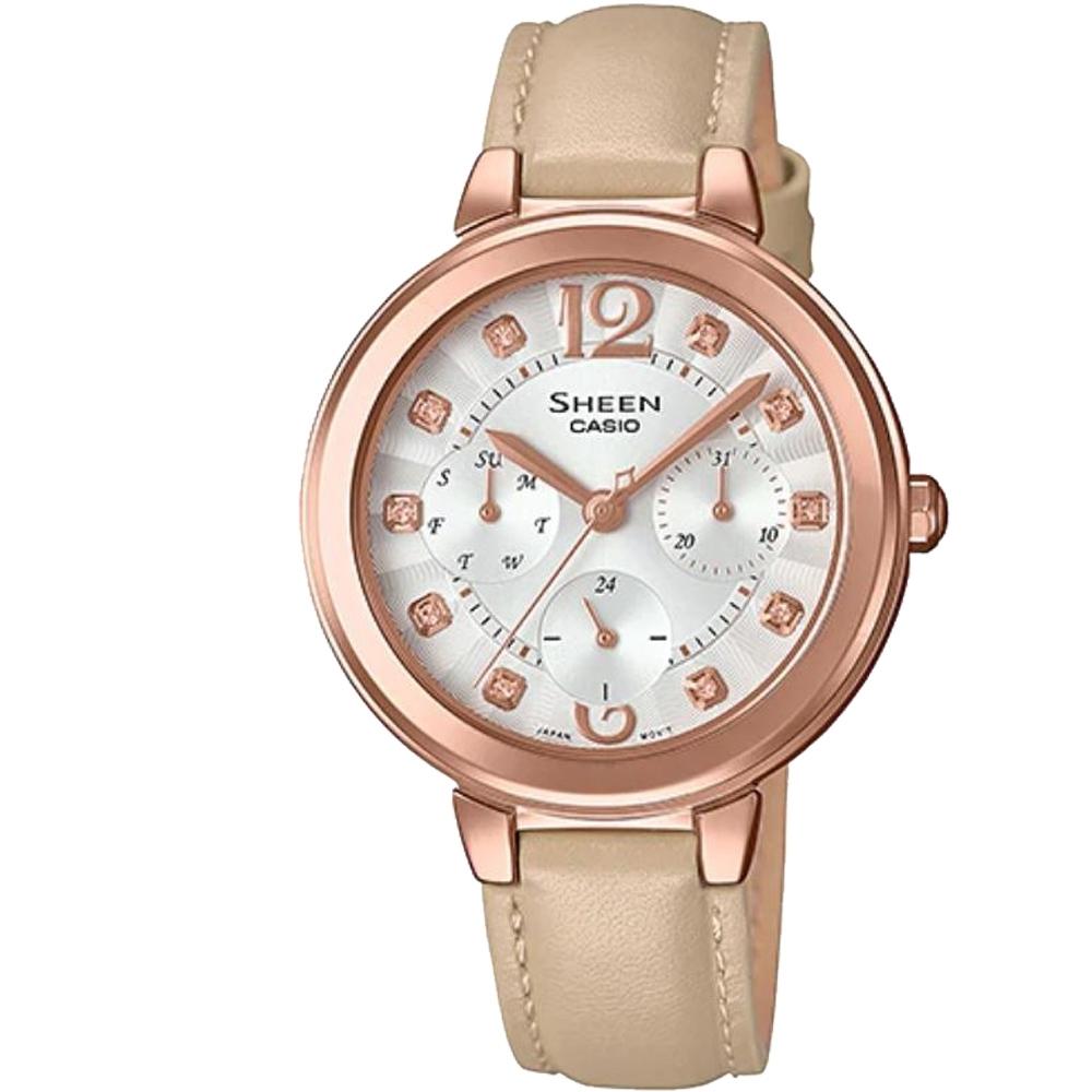 SHEEN 華麗之美水晶時刻玫瑰金皮帶錶-(SHE-3048PGL-7B)/34mm
