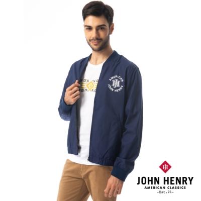 【JOHN HENRY】美式復古品牌LOGO棒球外套-藍