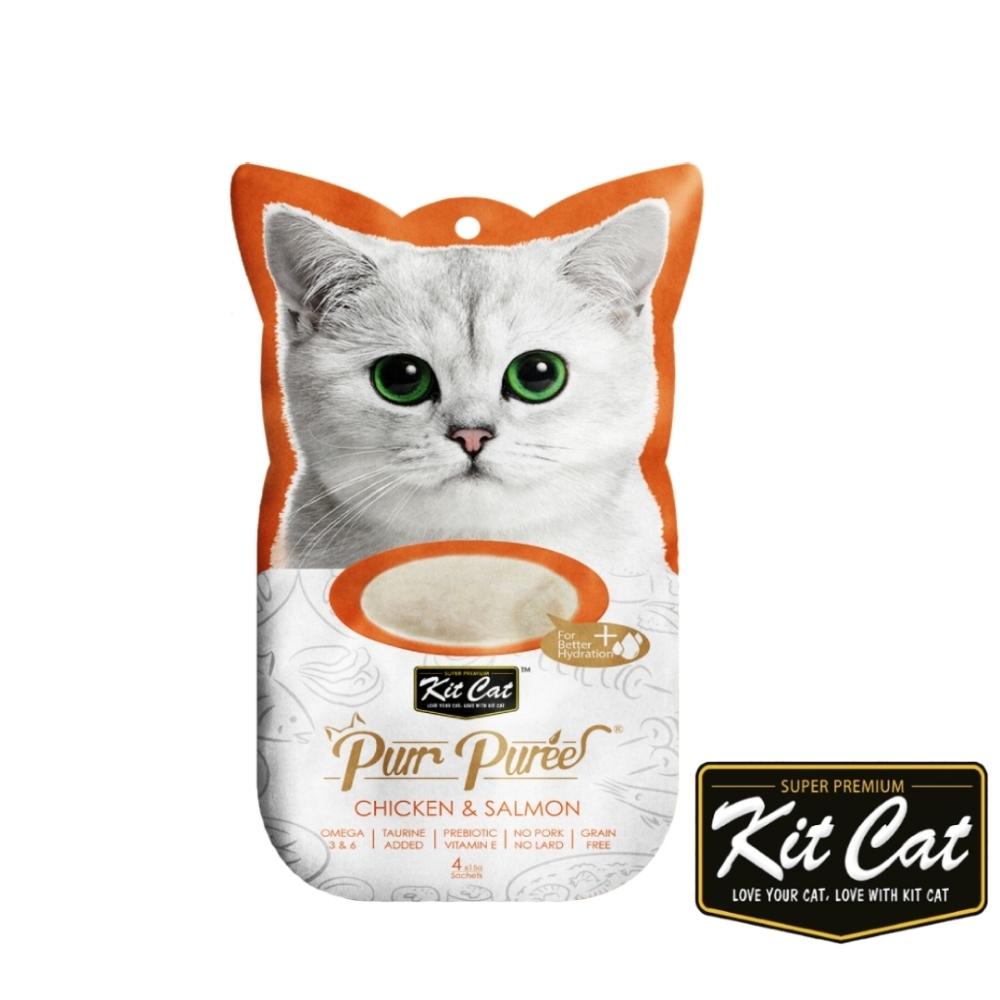Kitcat呼嚕嚕肉泥- 雞肉、鮭魚 60g 貓零食 貓肉條 貓肉泥 化毛 牛磺酸 適口性佳