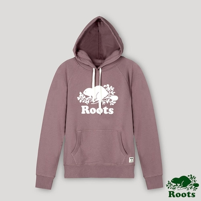 Roots女裝- 經典海狸LOGO連帽上衣-暗紫色