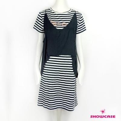 【SHOWCASE】假兩件背心條紋英字長洋裝(黑)