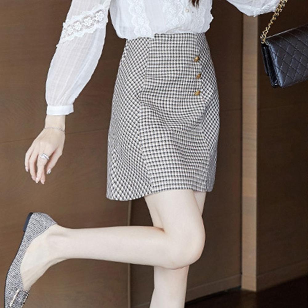 設計所在Lady-格子包臀A字短裙時尚(S-XL可選)