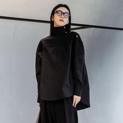 設計所在Style-寬鬆高領拼接設計寬鬆大碼中長版襯衫