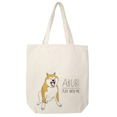 日本進口原色胚布包拉鍊帆布袋柴犬肩揹包321A帆布包肩背袋NATURAL CANVASTOTE BAG