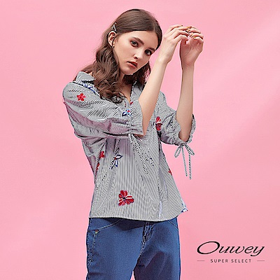 OUWEY歐薇 花朵刺繡造型條紋連袖上衣(藍)