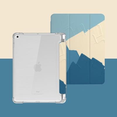 ZOYU原創 iPad Pro 11(2018/2020) 保護殼 透明氣囊殼 彩繪圖案款-復古油畫青藍色(三折式/軟殼/內置筆槽/可吸附筆)
