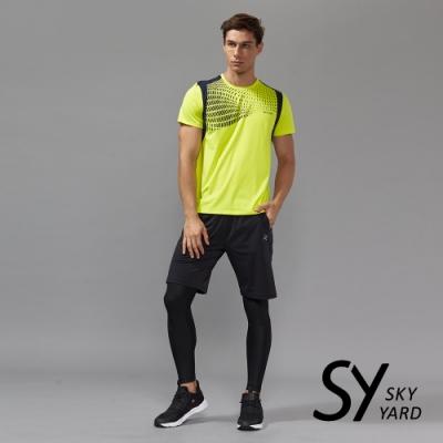 【SKY YARD 天空花園】幾何漸層機能印花T恤-黃色