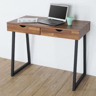 Homelike 威爾工業風二抽書桌(淺胡桃色)