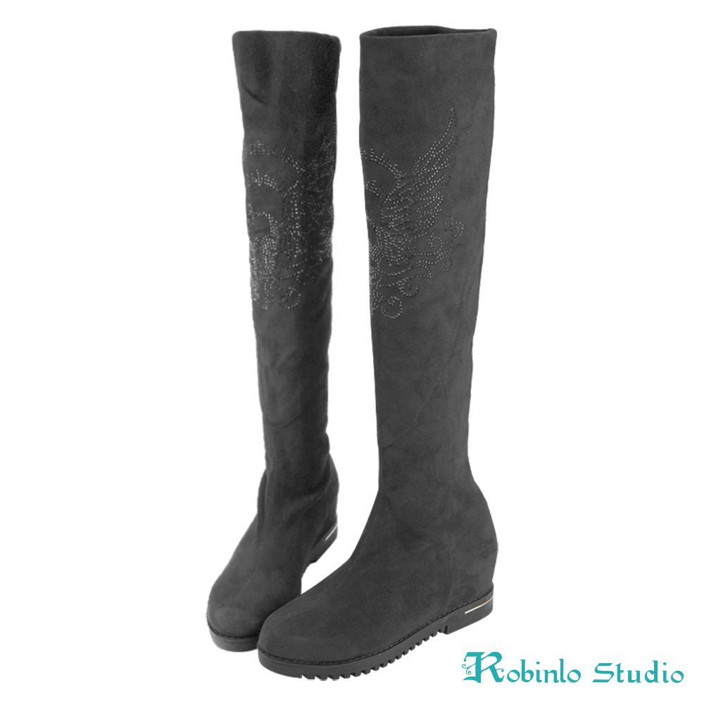 Robinlo 優雅顯瘦美腿平底膝上靴 灰