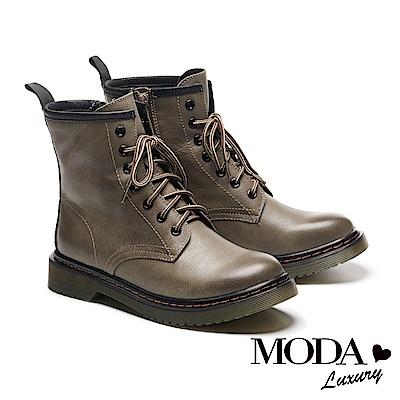 短靴 MODA Luxury 率性經典牛皮綁帶馬汀馬丁中筒短靴-灰