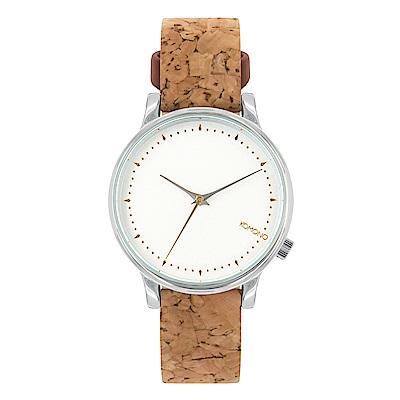 KOMONO Estelle Cork 腕錶-白金樸質/36mm