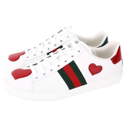 GUCCI ACE 綠紅羅緞愛心綁帶小白鞋(40號)