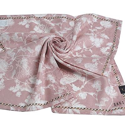 DAKS 棉絲混紡格紋滾邊字母LOGO花朵浮水印帕領巾(大/粉紅系)