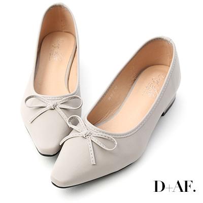 D+AF 春日繽紛.蝴蝶結尖頭低跟娃娃鞋*灰