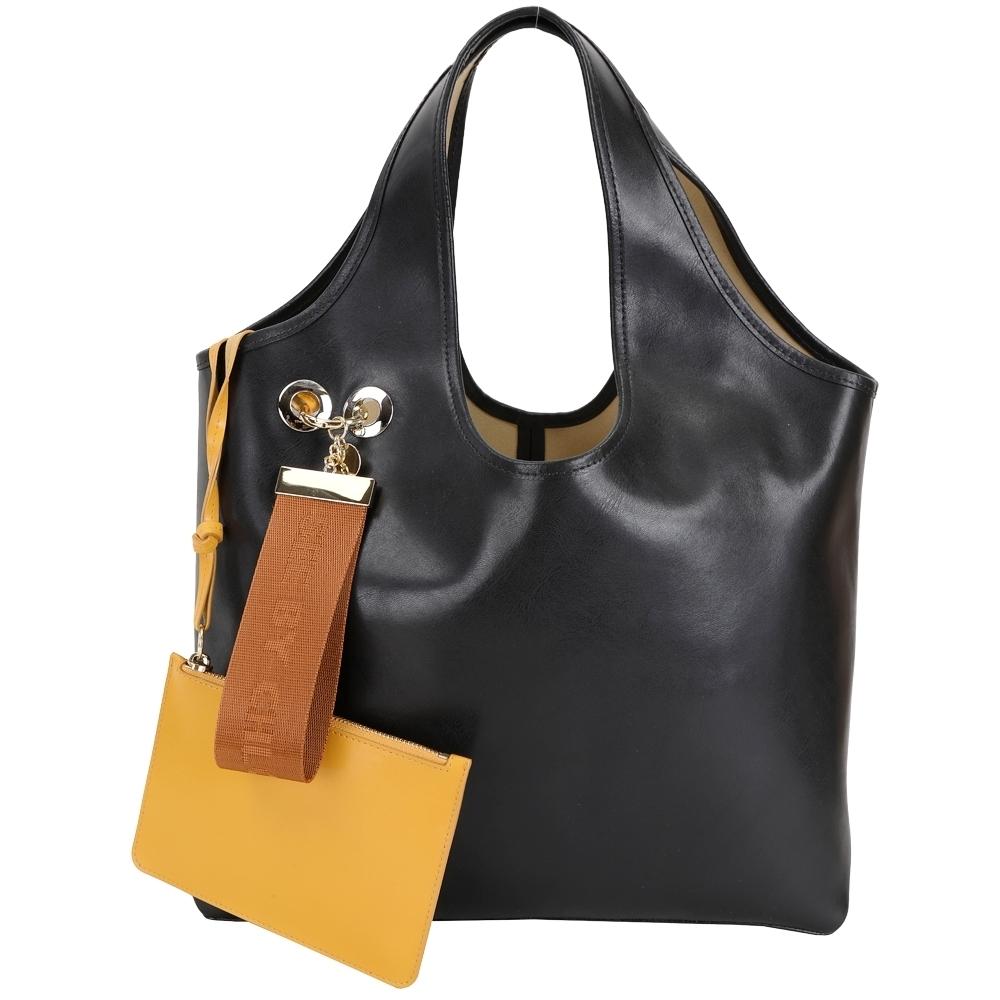 SEE BY CHLOE Jay 可拆織帶鑰匙圈萬用袋牛皮購物包(黑色)