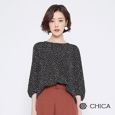 CHICA 復刻美學圓點背綁帶雪紡上衣(3色)
