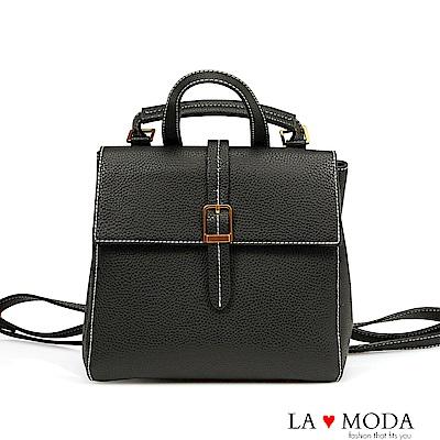 La Moda 旅行通勤必備多種背法肩背斜背後背包(黑)