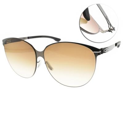 ic!berlin 太陽眼鏡 薄鋼眉框款/槍黑-漸層棕鏡片 #Swing Gun Metal