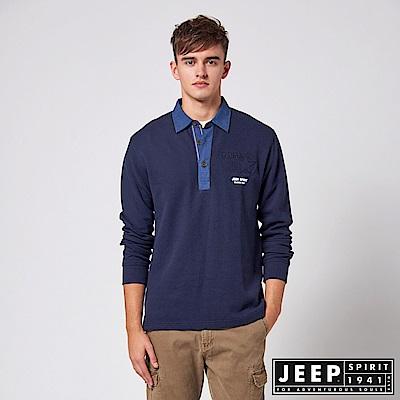 JEEP 探險世界撞色領長袖POLO衫 -深藍