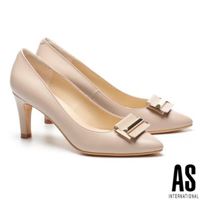 高跟鞋 AS 都市時尚金屬帶釦羊皮尖頭高跟鞋-米