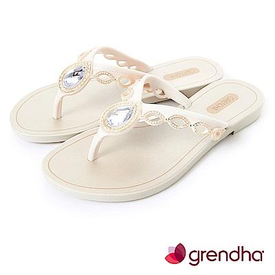 Grendha 羅馬風情寶石夾腳鞋-米白