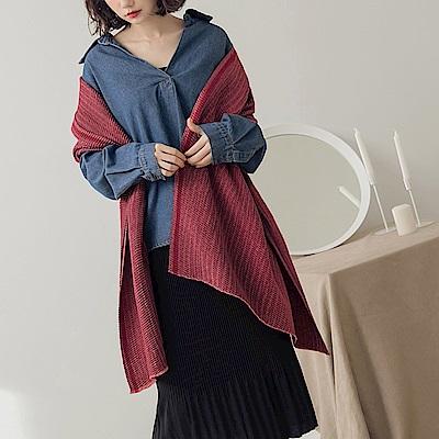 配色印花壓褶圍巾-OB大尺碼