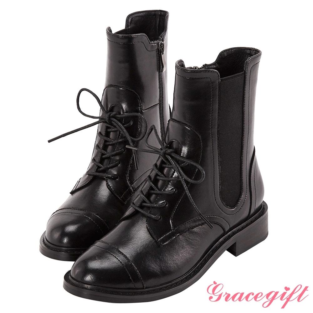 Grace gift-異材質拼接綁帶中靴 黑