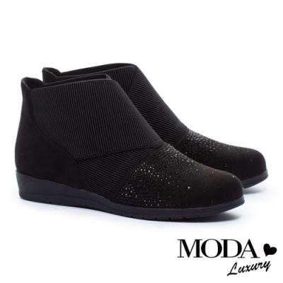 短靴 MODA Luxury 璀璨星鑽異材質拼接楔型低跟短靴-黑