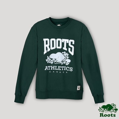 Roots男裝- RBA 原創翻玩系列 經典LOGO毛圈布圓領上衣-深綠色