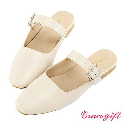 Grace gift-方頭條帶平底穆勒鞋 米白