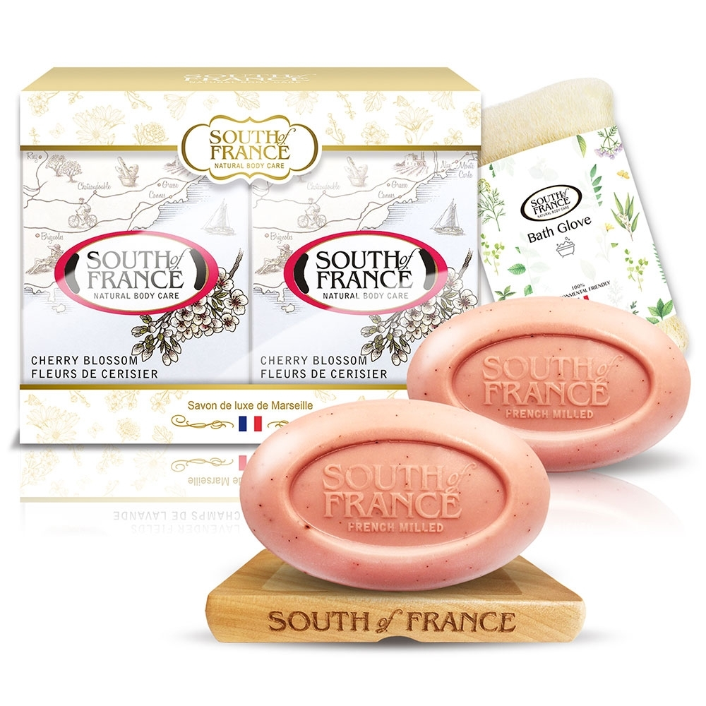 South of France 南法馬賽皂櫻香花露保濕組170g x2(贈皂盤+沐浴手套)