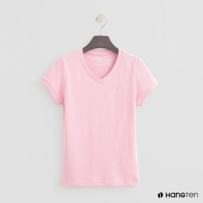 Hang Ten-女裝-有機棉-小V領純色T恤-粉紅