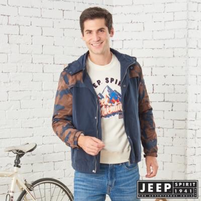 jeep型男迷彩保暖休閒連帽外套 -深藍