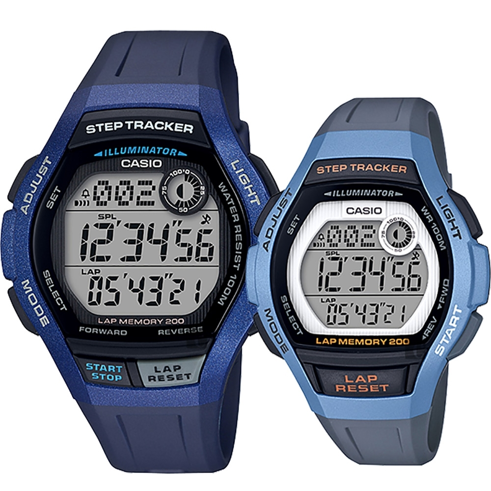 CASIO 卡西歐 計步功能情侶對錶(WS-2000H-2A+LWS-2000H-2A)