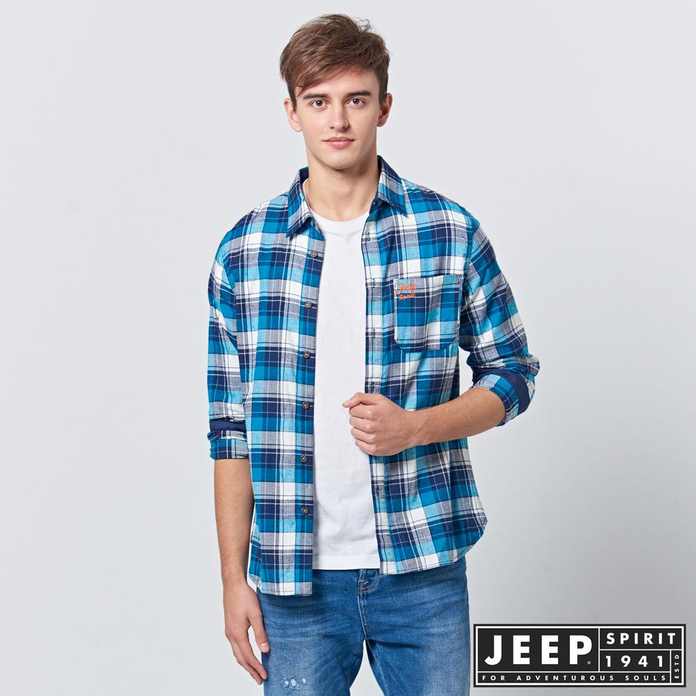 JEEP 法蘭絨格紋長袖襯衫-藍色