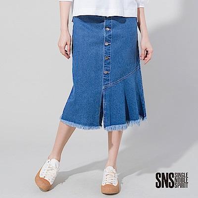 SNS 簡約排釦設計拼接下擺抽鬚牛仔裙(1色)