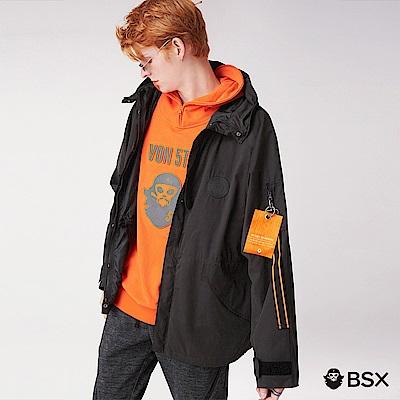 BSX 男裝VON寬版飛鼠袖中長版連帽外套-09 黑色