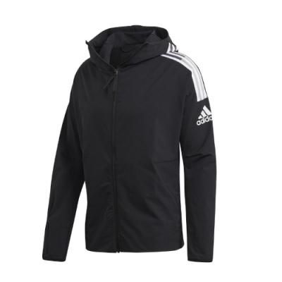 adidas 外套 Z.N.E. Jacket 運動休閒 男款 愛迪達 三線 連帽 尼龍 防風 穿搭 黑 白 FL3989