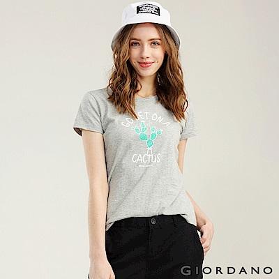 GIORDANO 女裝可愛植物印花短袖T恤-53 中花灰