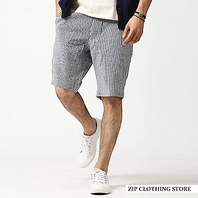 泡泡紗格紋純棉短褲休閒輕薄(3色) ZIP日本男裝